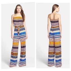 DVF Ani Desert Strapless Silk Jumpsuit